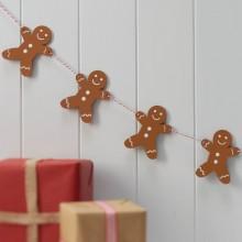 Vintage Noel Bunting - Wooden - Gingerbread