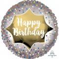 Happy Birthday Satin Gold Burst Standard Foil Balloon