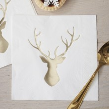 Christmas Metallics Paper Napkins - Foiled - Gold Stag