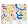 12 x Rainbow Hanging Swirls Decorations 55cm