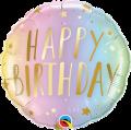 Happy Birthday Pastel Ombre & Stars Foil Balloon
