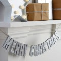 Christmas Metallics Bunting - Wooden - Merry Christmas - Silver Glitter