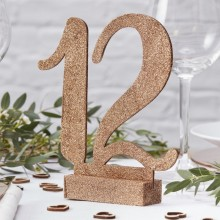 Beautiful Botanics  Table Number - Wooden - Rose Gold Glitter