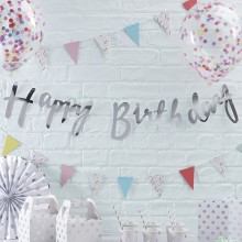 Pick and Mix Bunting - Happy Birthday - Silver