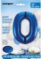 Blue Glitz 34 inch Number Balloon - 0